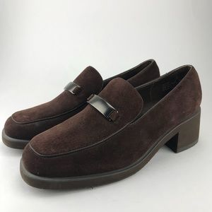 HUSH PUPPIES Brown Slip On Loafer Heels Size 8
